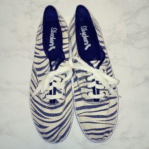 Zebra Print Sequin Sneakers | Sketchers | 9.5